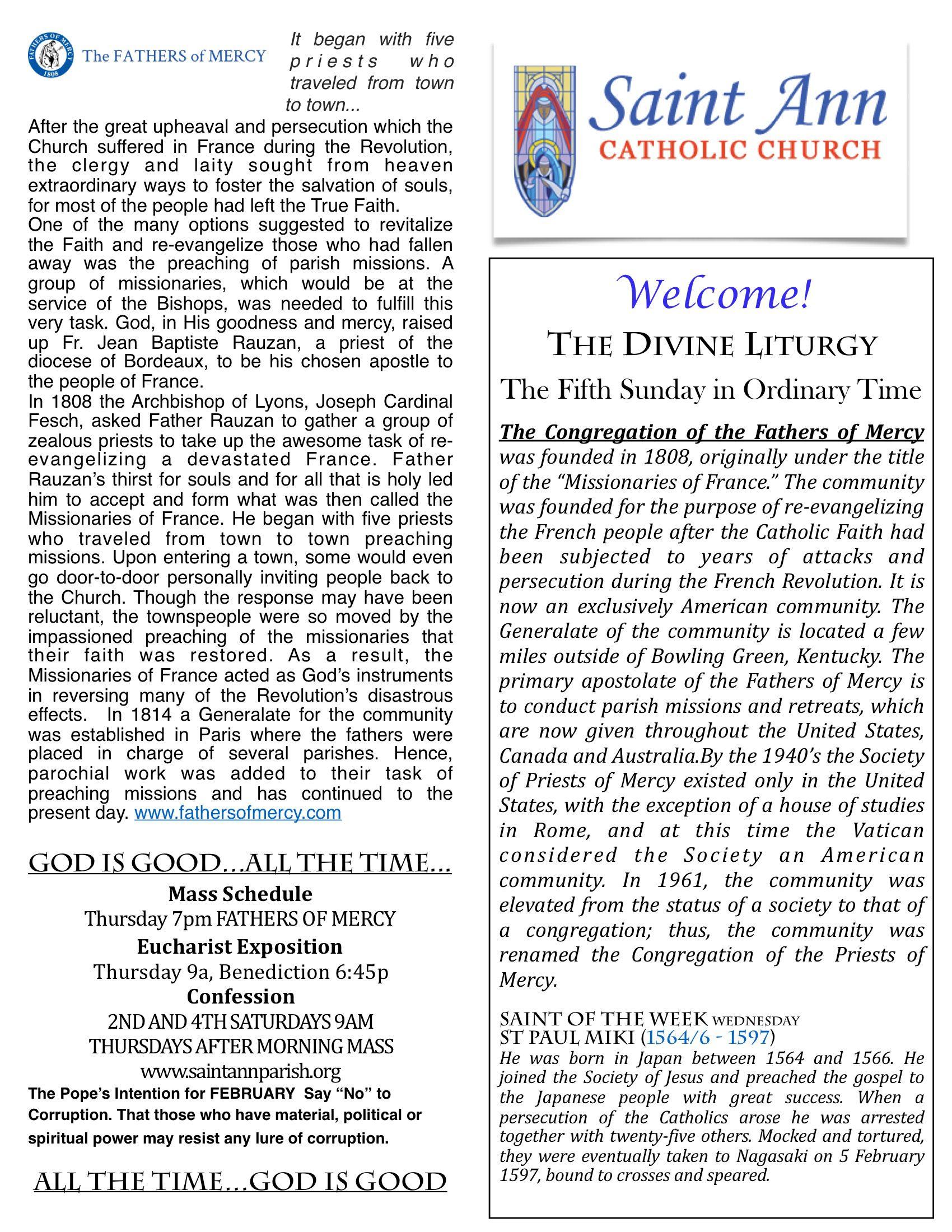 ORDINARY TIME YEAR B – St  Ann Catholic Church